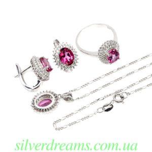 Серебряный комплект с розовым топазом