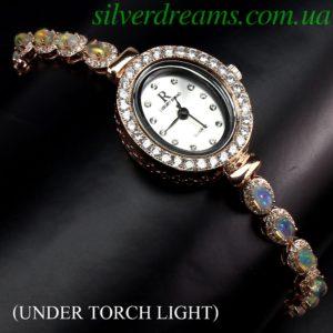 Серебряные часы/браслет с огненным опалом