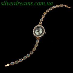 Серебряный браслет/часы с эфиопскими опалами