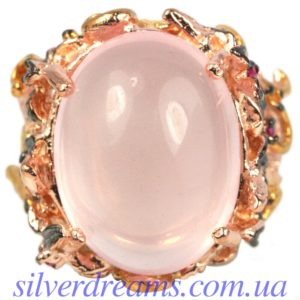 Серебряное кольцо с крупным розовым кварцем