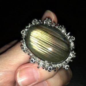 Серебряное кольцо с огромным лабрадоритом