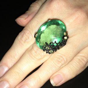 Серебряное кольцо с крупным флюоритом