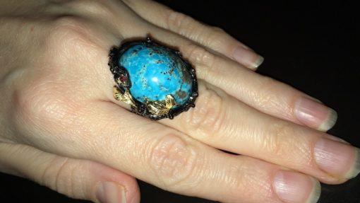 Серебряное кольцо с крупным варисцитом