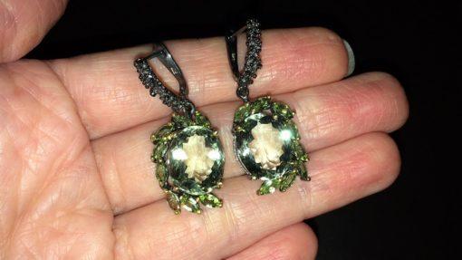 Серебряные серьги Зелёный Аметист & Хризолит