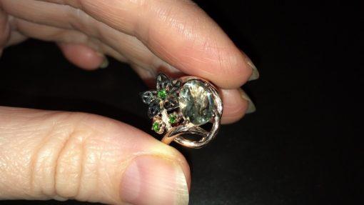 Серебряное кольцо с празиолитом в позолоте