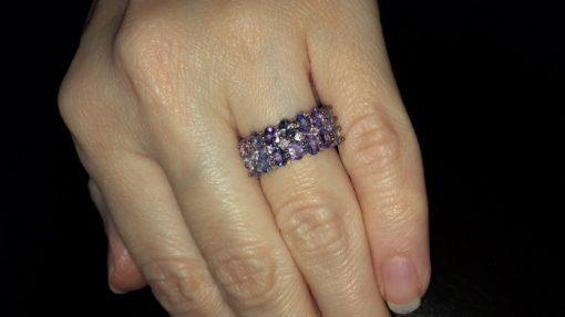Серебряное кольцо с танзанитами в позолоте
