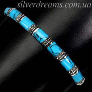 Серебряный браслет с бирюзой и марказитами