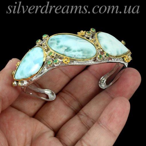 Серебряный браслет с крупным ларимаром