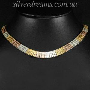 Серебряная цепь/колье в мультицветной позолоте