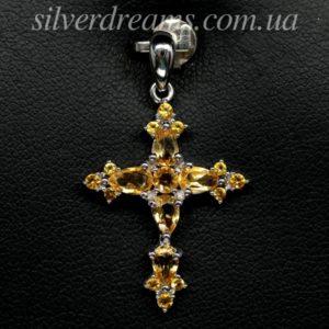 Серебряный подвес крестик с цитрином