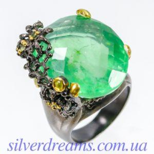 Серебряное кольцо с 40-каратным флюоритом
