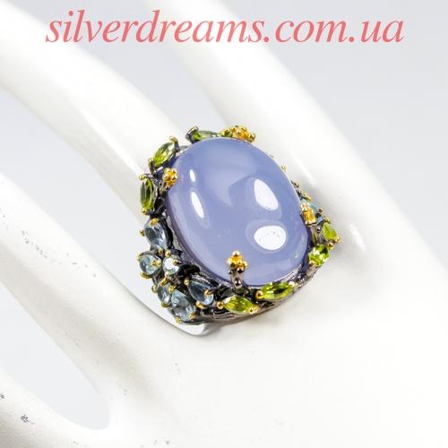 Серебряное кольцо с крупным халцедоном