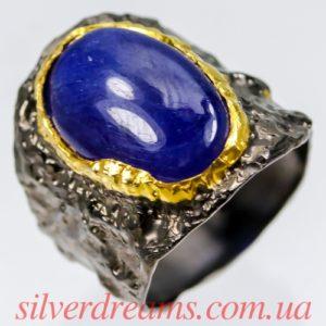 Серебряное кольцо с крупным гладким сапфиром