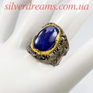 Серебряное кольцо с сапфиром кабошон