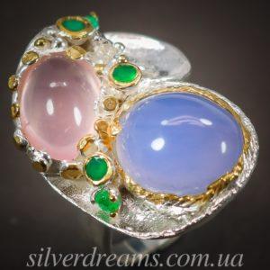 Серебряное кольцо с халцедоном и розовым кварцем