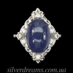 Серебряное кольцо с крупным гладким танзанитом