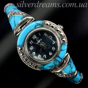 Серебряный браслет/часы с бирюзой и марказитами