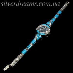 Серебряные часы/браслет с бирюзой и марказитами