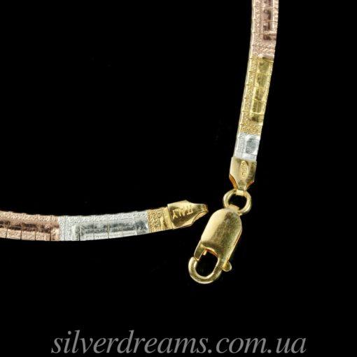 Серебряная цепь/ожерелье в мультицветной позолоте