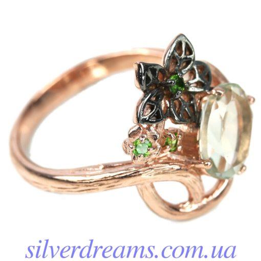 Серебряное кольцо с празиолитом и цаворитами