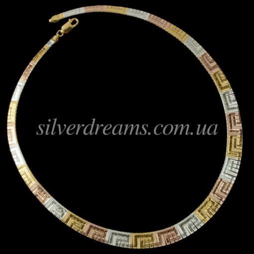 Серебряная цепь/ожерелье с мультицветной позолотой