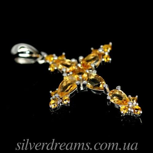 Серебряный кулон крестик с цитринами