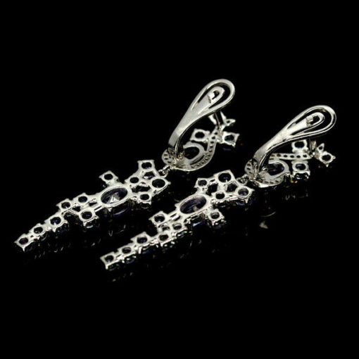 Длинные серебряные серьги с танзанитами