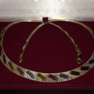 Серебряная цепь/ожерелье с тройной позолотой
