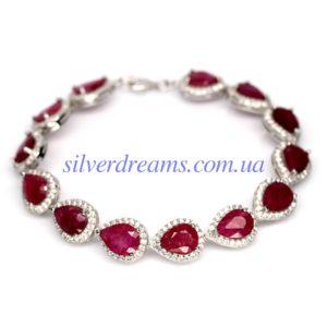 Серебряный браслет с крупными рубинами