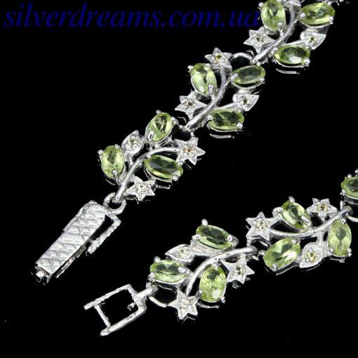 Серебряный браслет с хризолитами