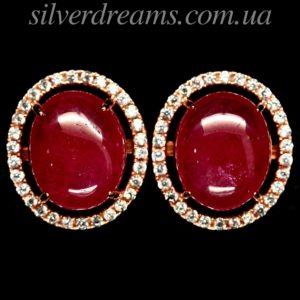 Серебряные серьги с крупным рубином кабошон