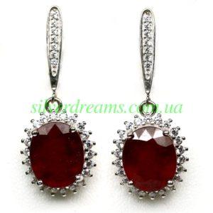 Серебряные серьги с крупным рубином