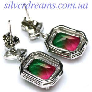 Серебряные серьги с арбузным цирконием