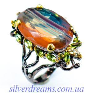Серебряное кольцо с bi-color флюоритом