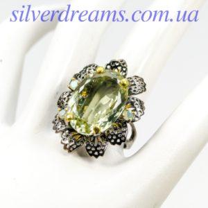 Серебряный перстень с крупным празиолитом