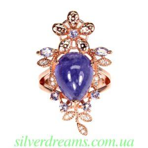 Кольцо с танзанитом в серебре с позолотой