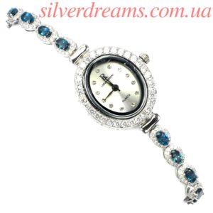 Серебряные часы/браслет с лондон топазом
