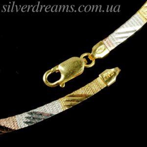 Серебряная цепь/колье с трёхцветной позолотой