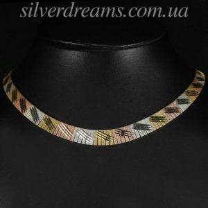 Серебряная цепь/ожерелье в мультипозолоте