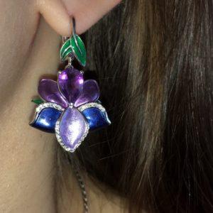 Серебряные серьги Орхидея с аметистом и эмалью