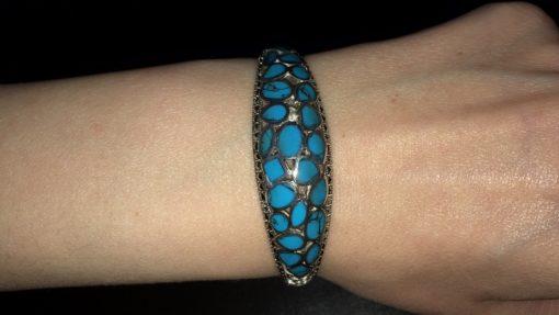 Серебряный браслет с аризонской бирюзой