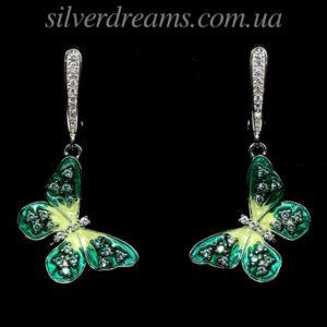 Серебряные серьги Бабочки с цветной эмалью