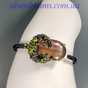 Серебряный браслет с двухцветным флюоритом