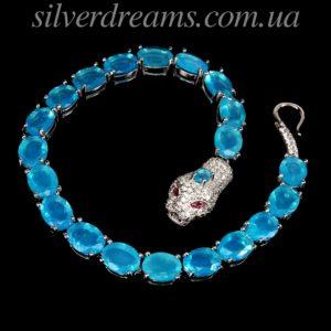 Серебряный браслет Змея с гранёными голубыми опалами