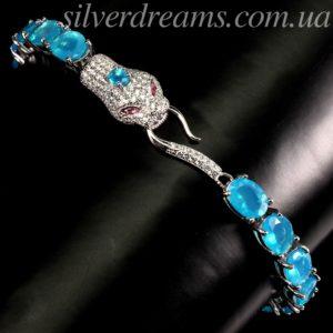 Браслет Змея с голубым опалом в серебре