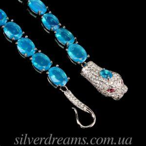 Серебряный браслет Змея с голубыми опалами