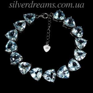 Серебряный браслет с крупными голубыми топазами