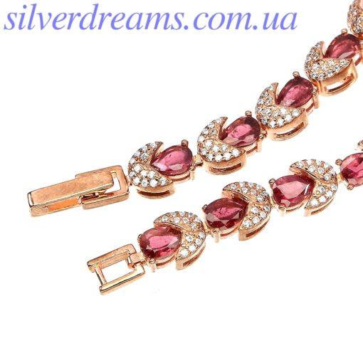 Серебряный браслет с розовым турмалином