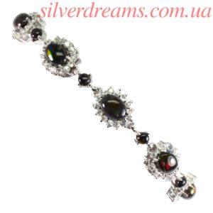 Серебряный браслет с чёрными опалами