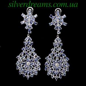 Серебряные серьги-люстры с танзанитами